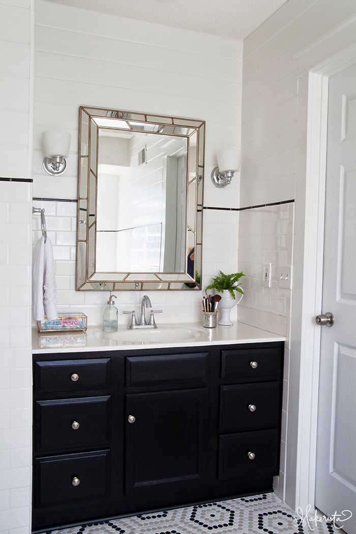 Blog The Makerista Master Bathroom Vanity Black Subway Tile Tongue And Groove The Makerista