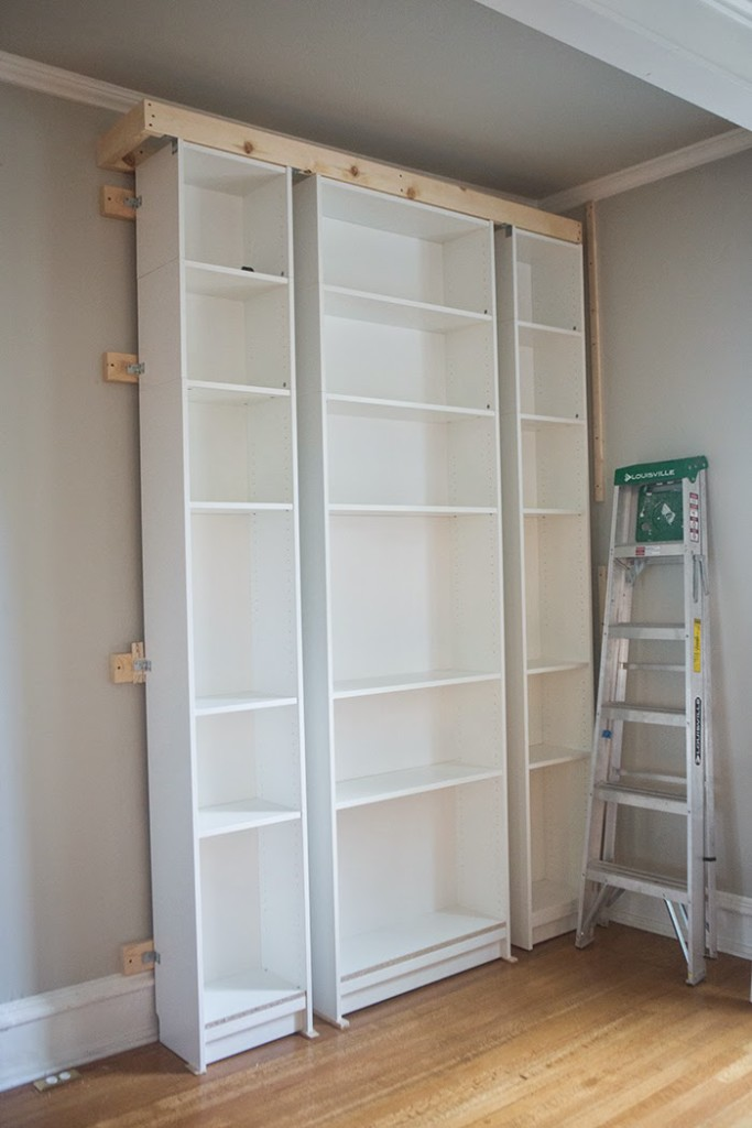 Knowing We Would Be Mounting A 10 Sliding Library Ladder To The Top Of Bookcase I Reinforced Structure By Making Rectangular Box Crown