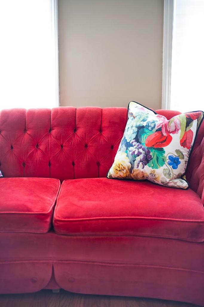 Red Velvet Tufted Sofa Baci Living Room