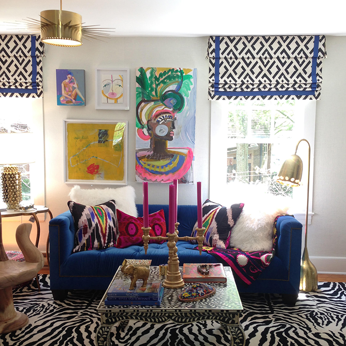 Living Room Cobalt Blue Couch Art Colorful Bright Modern Young The Makerista High Point Junior League Showhouse North Carolina The Makerista