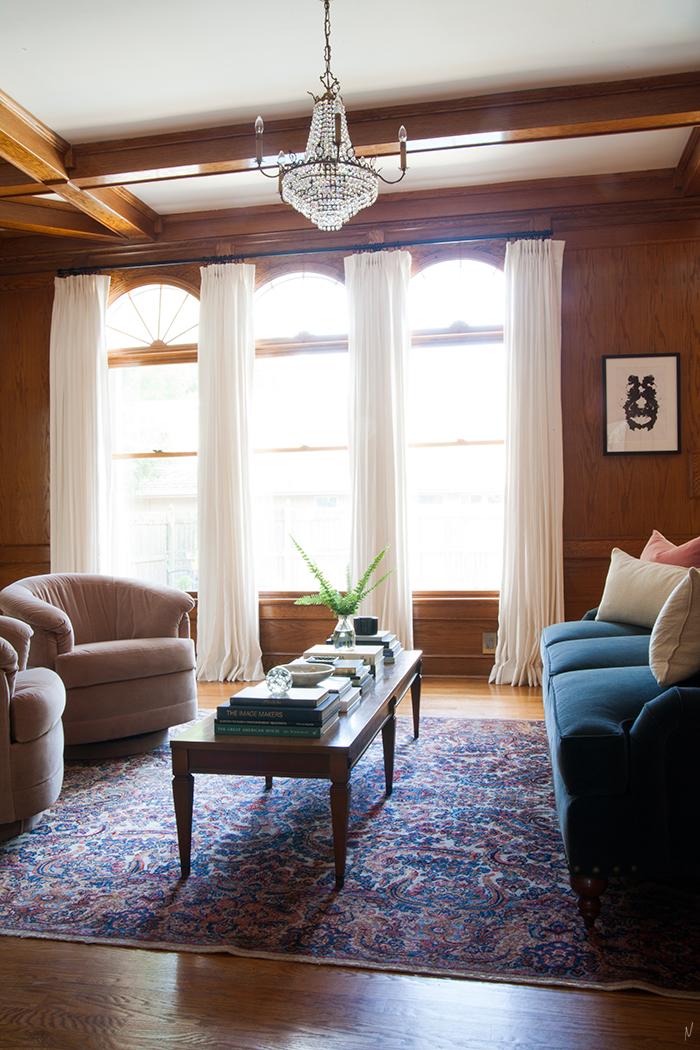 The Makerista Wood Room Karastan Rug Living Room Color Blush Tub Chairs English Roll Arm Sofa Velvet Img 5027 1 The Makerista