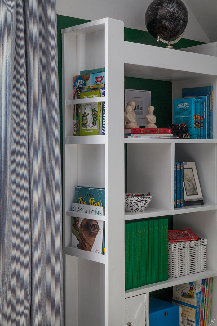 The Makerista Boys Bookcase Green Room Bookshelf Styling